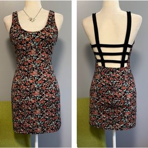 Lush Floral Lattice Back Bodycon Mini Dress D3